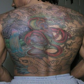 Colorful Dragon Tattoo Covering The Whole Back Pictures