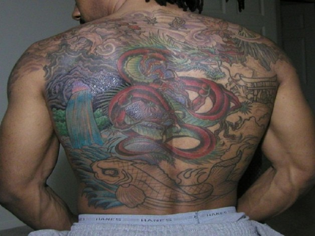 Colorful Dragon Tattoo Covering The Whole Back