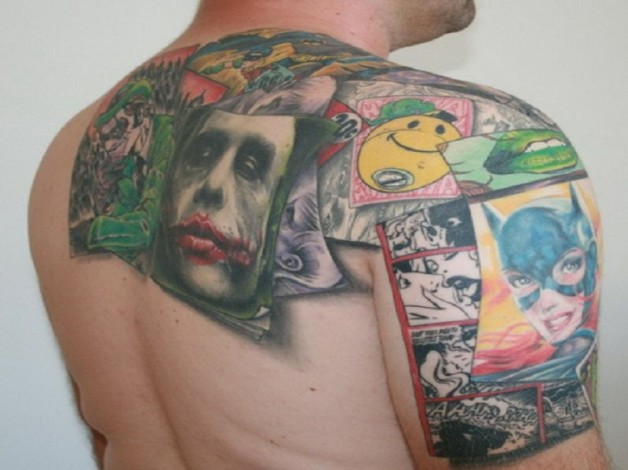 Colorful Joker Card Tattoos
