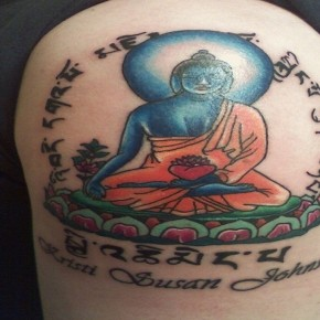 Colorful Lotus Budha Dharma Tattoos Pictures
