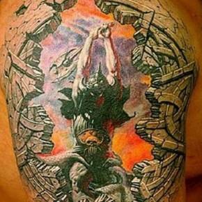Colorful Men 3D Tattoo Design On Shoulder Pictures