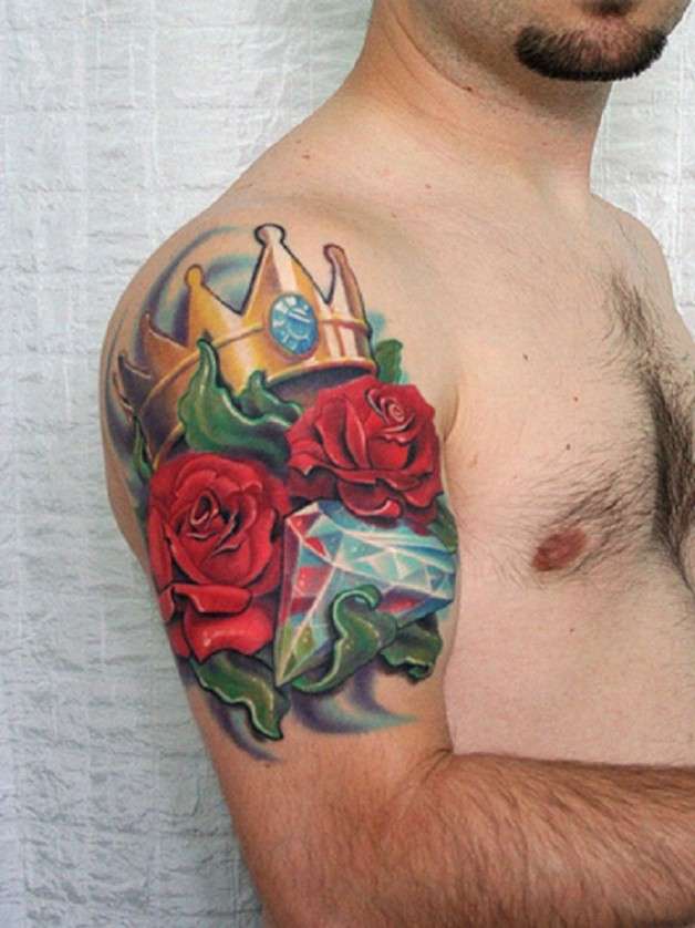 Colorful Rose Tribal Tattoo For Men