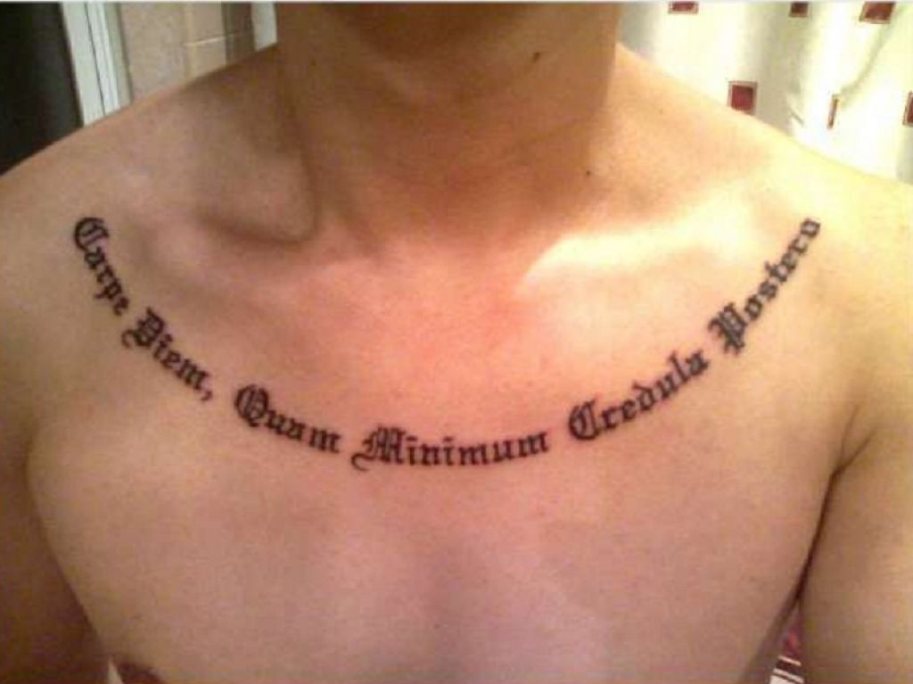 Cool Carpe Diem Words Tattoo Inked Across Sternum Pictures