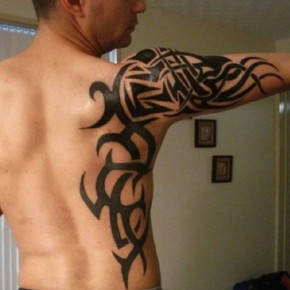 Cool Maori Tribal Tattoos On Back Sleeve And Shoulder Pictures