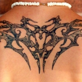 Cool Rest In Peace Tribal Style Back Tattoo Pictures