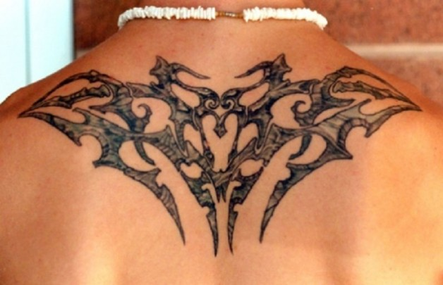 Cool Rest In Peace Tribal Style Back Tattoo