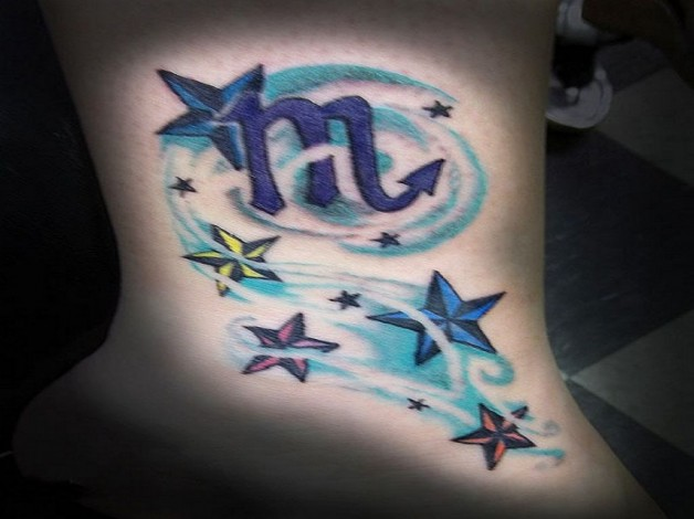 Cool Scopion Zodiac Tattoo With Stars For Feet