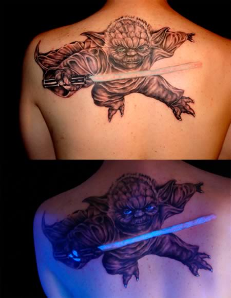 Cool UV Tattoo Degin Of Yoda