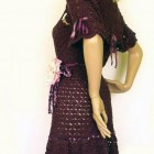 Crochet Wool Dresses Maroon Pictures