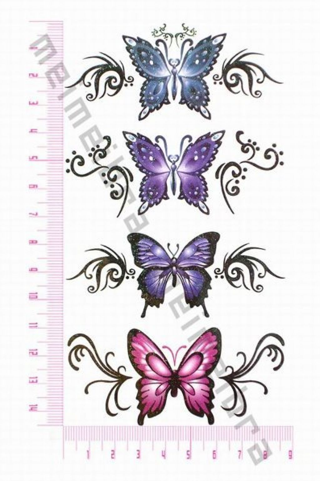 Cute Fashion Design Waterproof Beautiful Butterfly Temporary Tattoo Pictures