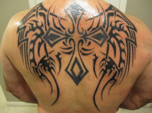 Dashing Back Tribal Cross Tattoos