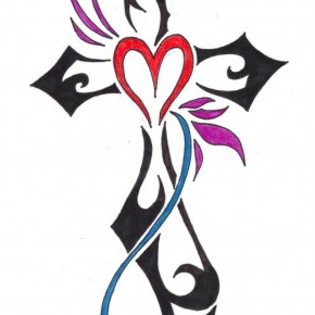 Design Tribal Cross Tattoo For Women Pictures