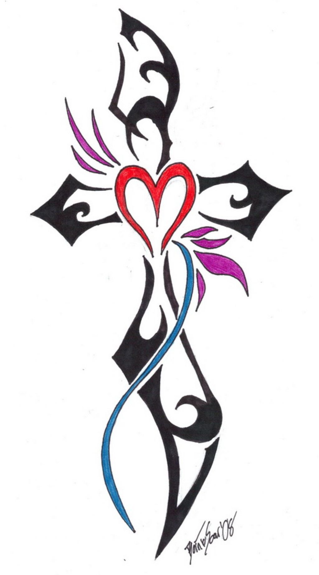 Design tribal cross tattoo for women for Women s tribal tattoos designs