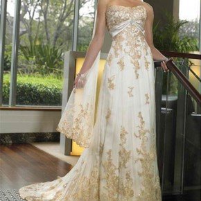 Elegant Gold Wedding Dress, Gold Wedding Dresses 7