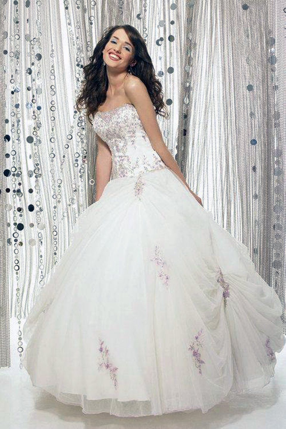 Elegant White Long Dresses Ball Gown