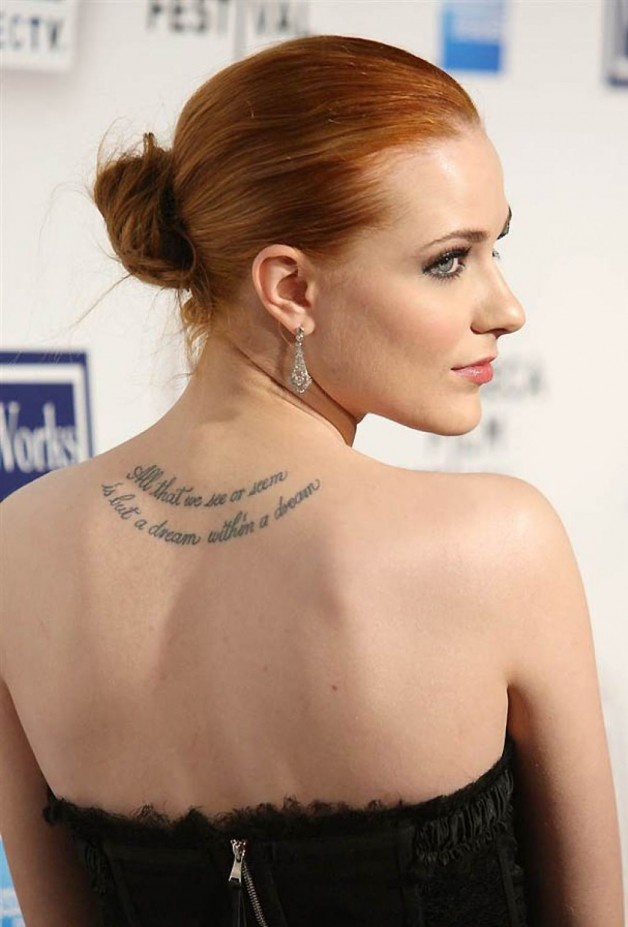 Evan Rachel Wood Tattoo With Quote By Edgar Allan Poe