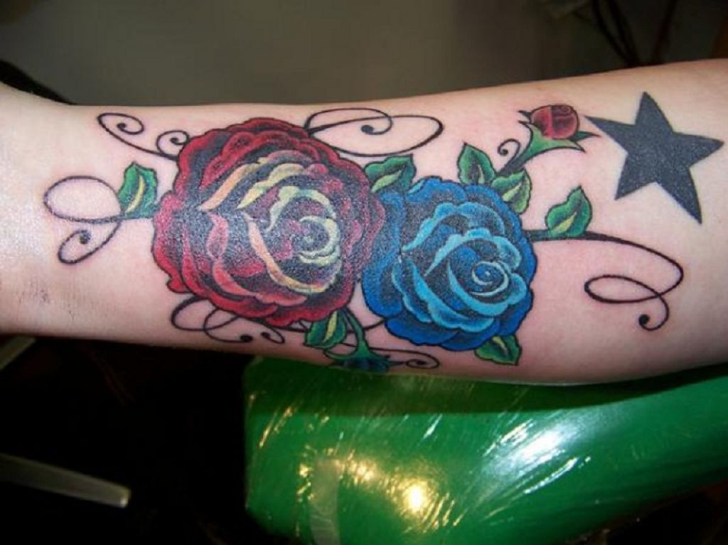 Extraordinary Tribal Rose Tattoo On Forearm Pictures