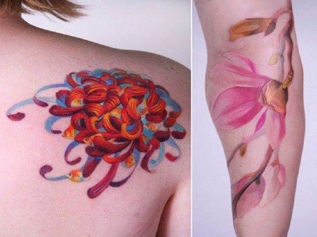 Fake Flowers Tattoos Amanda Wachob