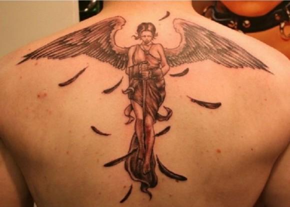 Fantasy Angel 3D Tattoo Design For Man On Back
