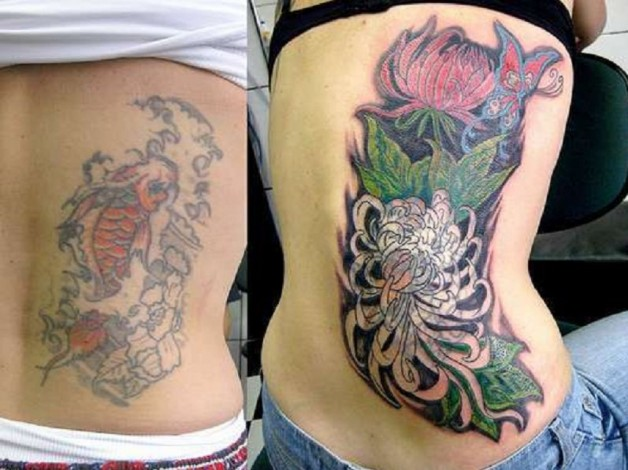 Fish To Angelic Lotus Tattoo Cover Up Ideas