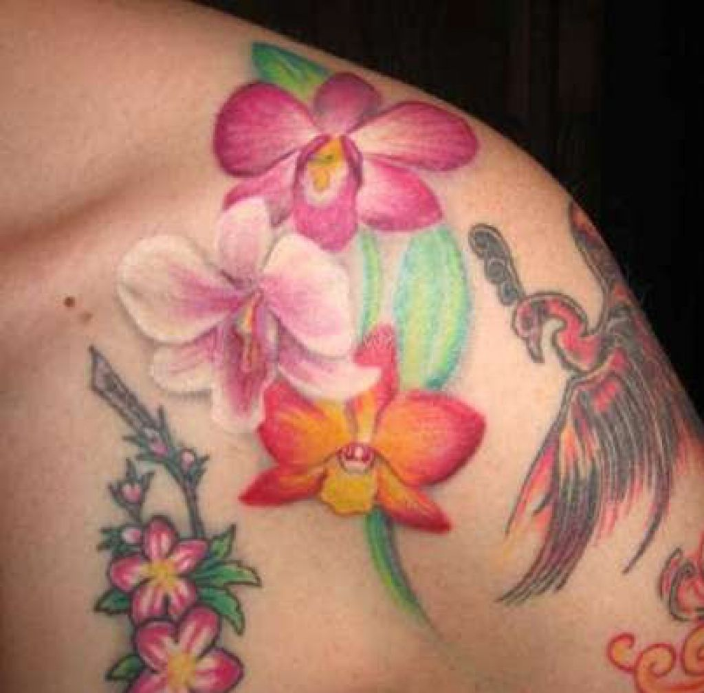 Flower Orchid Pretty Tattoos Designs Pictures