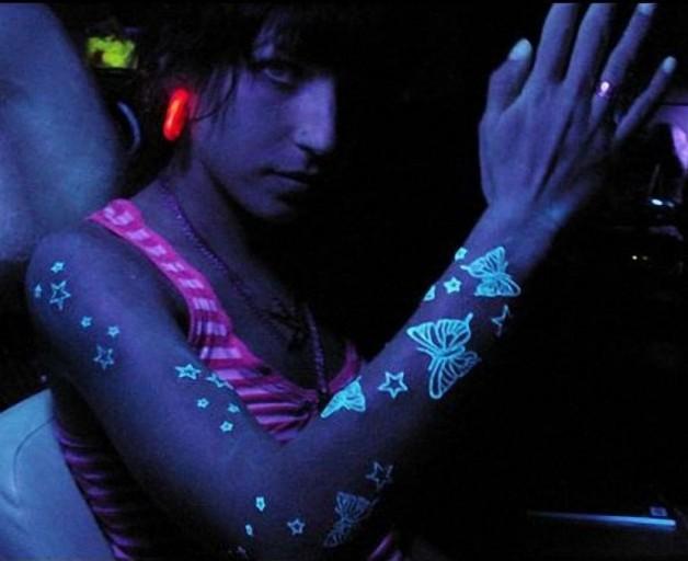 Fluor Tattoo UV Glow Bodypaint Buterrfly Design