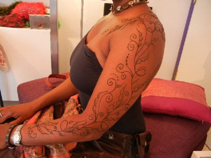 Full sleeve henna temporary tattoo ideas pictures for Black temporary tattoo