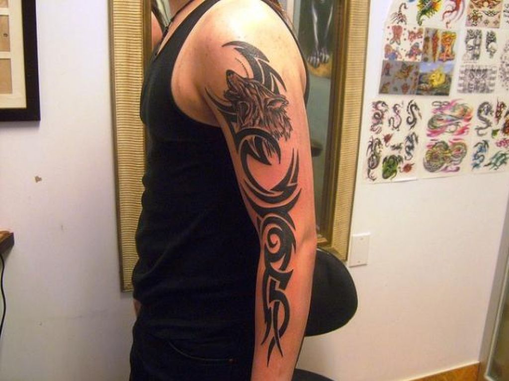 Full Wolf Tribal Arm Tattoos Pictures
