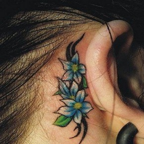 Girly Tribal Flowers Tattoo Behind Ear Pictures