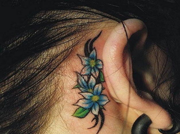 Girly Tribal Flowers Tattoo Behind Ear