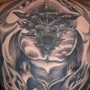 Gothic Dragon Full Back Body Tattoo Pictures