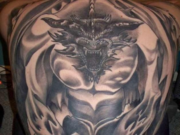 Gothic Dragon Full Back Body Tattoo