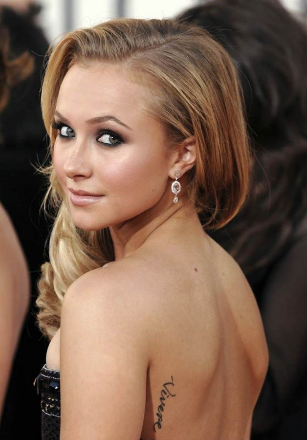 Hayden Panettiere Tattoo Quote On Back