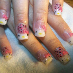 Hello Kitty Nail Designs Short Nails Ideas Pictures