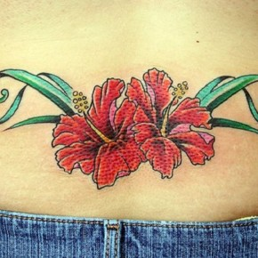 Hibiscus Flower Tattoo On Lower Back Pictures