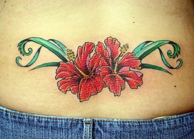 Hibiscus Flower Tattoo On Lower Back