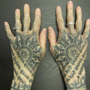 Impressive Sanskrit Quote Hand Tattoo Designs Pictures