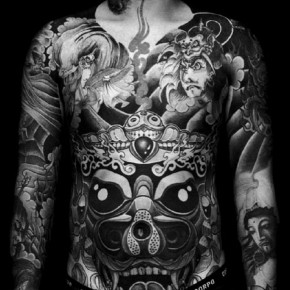 Inspiring Black And White Front Full Body Tattoo Pictures