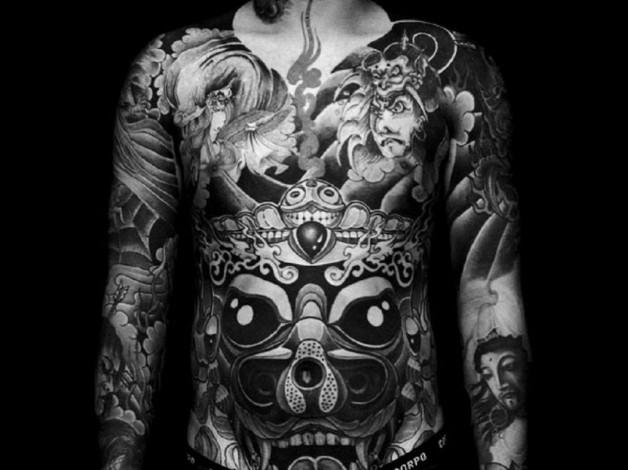 Inspiring Black And White Front Full Body Tattoo
