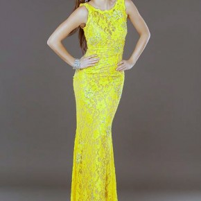 Jovani Long Lace Evening Dresses Yellow Pictures