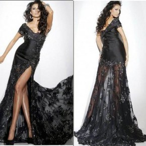 Lace Dinner Gowns Black Pictures