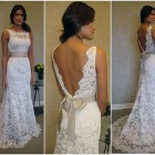 Lace Low Back Wedding Dress With Bow Pictures
