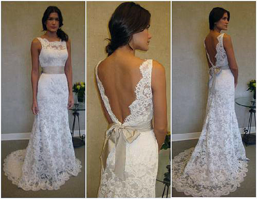 Lace Low Back Wedding Dress With Bow - Inofashionstyle.com