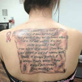 Large Back Quote Tattoo Design Ideas With Black Ink Pictures