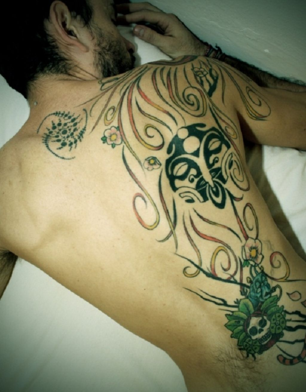 Large Back Tattoo For Men With Vivid Ink Color Pictures