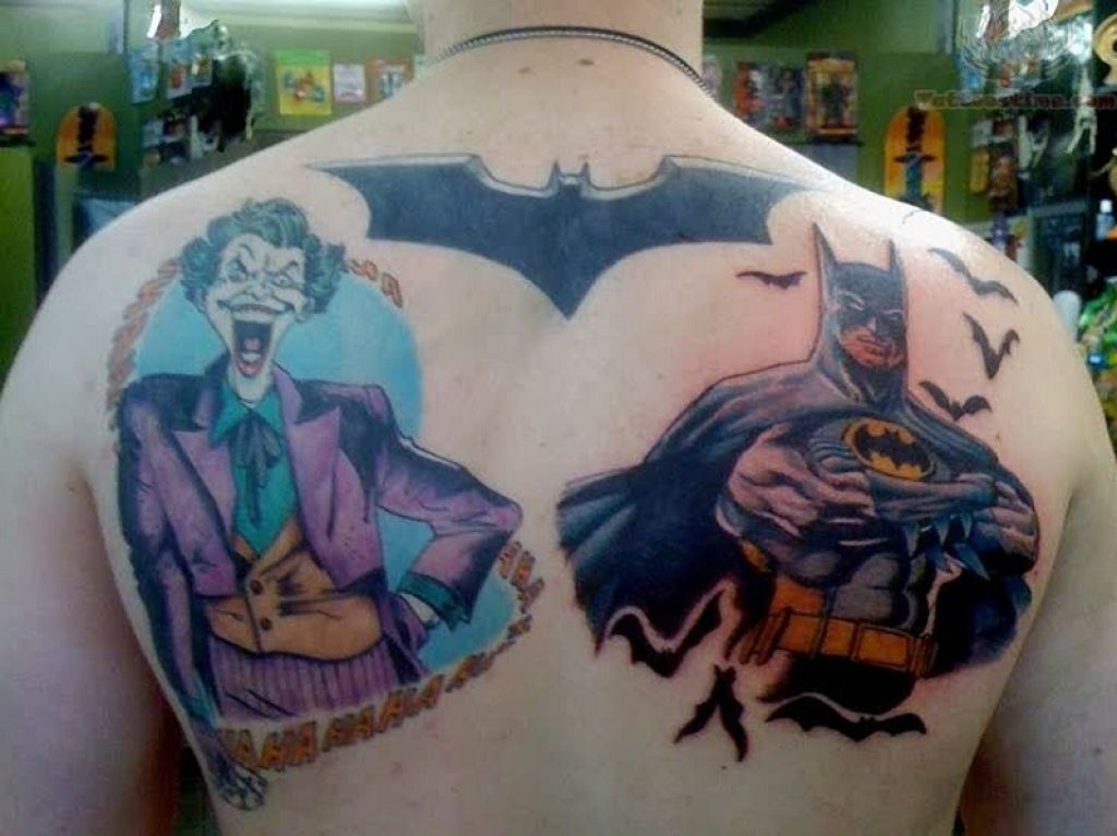 Large Batman Vs Joker Tattoo On Back Pictures