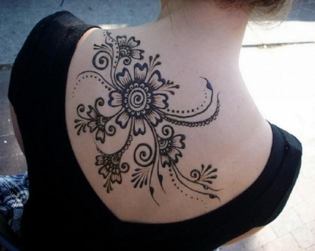 Large Black Henna Tattoo On Back