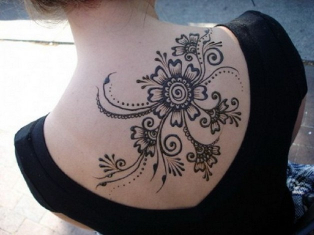 Large Upper Back Henna Tattoo Design