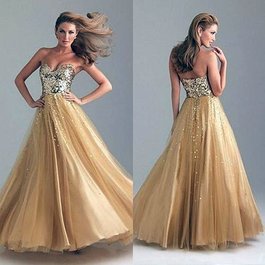 Long Prom Dresses Gold 2013