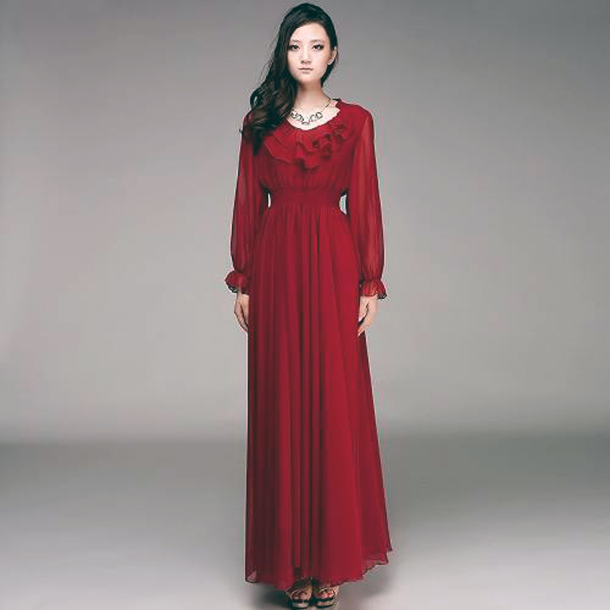 Long Sleeve Maxi Dresses For Women In Red